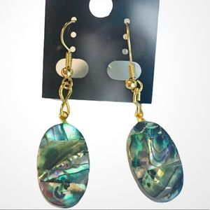 Oval Drop Dangle Mother of Pearl Pierced Earrings